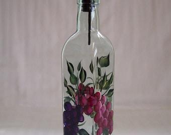 Oil Decanter, oil bottle, oil dispenser with grapes, glass oil bottle, oil and vinegar dispenser, kitchen decor,soap dispenser