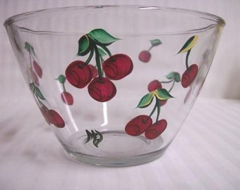 Serving bowl, hand painted bowl, large serving bowl, serving bowl with cherries, kitchen bowl