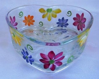 Heart shape dish, candy dish, hand painted dish, painted candy dish, gerber daisies, perber daisy dish