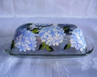 Butter dish with lid, butter dish, covered butter dish, glass butter dish, butter dish with hydrangeas