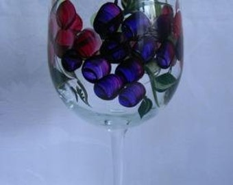Painted wine glassHand painted wine glass-painted grapes