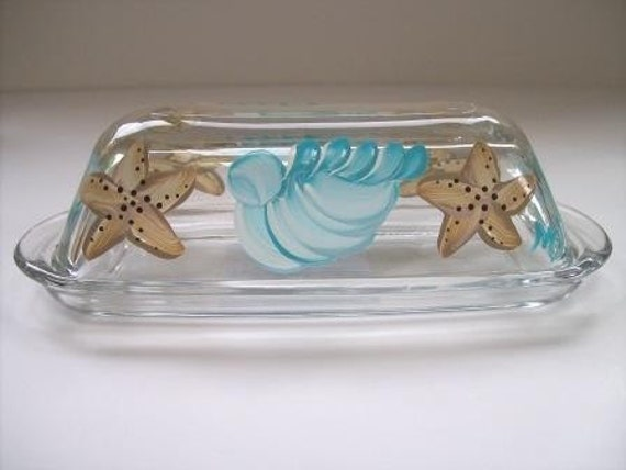 Hand painted butter dish-covered butter dish-seashells & starfish