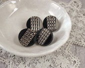 Four Victorian Gold Luster Black Glass Cable Pattern Buttons