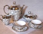 Serv. for 12 Vintage Chocolate Set: Bavarian Porcelain Silver Transfer-Lusterware
