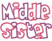 Middle Sister 2 Color Embroidery Machine Applique Design 10461