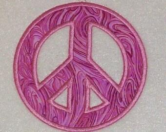 Peace Sign Embroidery Machine Applique Design 10105