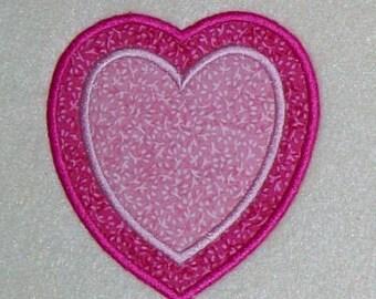 Double Heart Embroidery Machine Applique Design 10393
