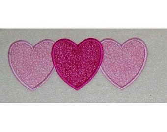 Triple Heart Embroidery Machine Applique Design 10394