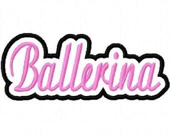 Ballerina Embroidery Machine Applique Design 10398