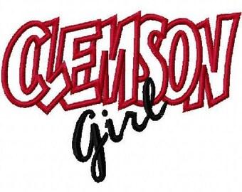 Clemson Girl Embroidery Machine Applique Design 10417