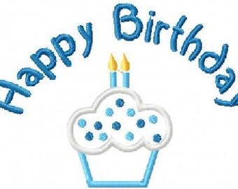 Happy Birthday CupCake with 2 candles Embroidery Machine Applique Design 15074