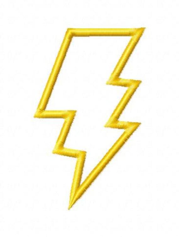 Lightning Bolt Applique Machine Embroidery Design 5 Sizes   Lightning Bolt Design