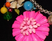 Vintage Flower Brooches & Pins Collage Necklace