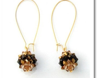 Original Gold and Black Crystal Knot Hook Earring