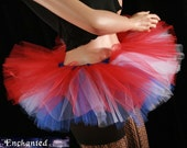 Red white and blue tutu skirt adult Peek a boo micro mini holiday july dance costume -- You Choose Size -- Sisters of the Moon