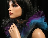 Three layer tulle collar neck cuff clown black purple blue halloween costume tie on -- SistersEnchanted