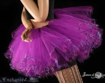 tutu Purple trimmed Fairy Adult rave skirt costume bridal petticoat wedding teen mardi gras --You Choose Size-- Enchanted