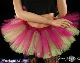 Peek a boo mini Fuchsia and neon citrus tutu skirt Adult circus costume dance roller derby --You Choose Size -- Enchanted