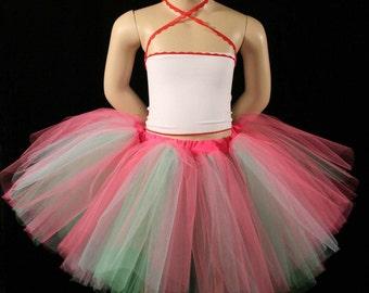 Childs Candyland three layer tutu skirt mini pink aqua mint--2T-6T--Grow with me