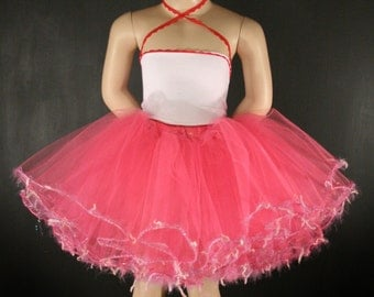 Pretty in Pink  trimmed dance tutu skirt Child- 2T-6T Extra puffy style--Grow with Me-- By Enchanted