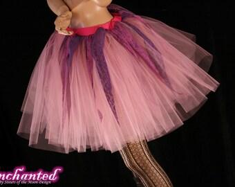 Pixie pink fairy romance tutu skirt adult mauve lace points knee length costume halloween dance --You Choose Size -- Enchanted