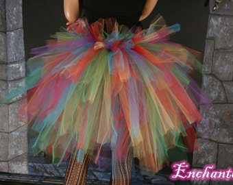 Rainbow burlesque tie on bustle costume--One Size XS-XL--Enchanted