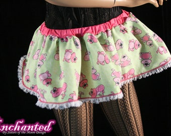 Pink frog micro mini skirt Adult tutu topper circle skirt green white lace roller derby  -- You chose size -- SistersEnchanted