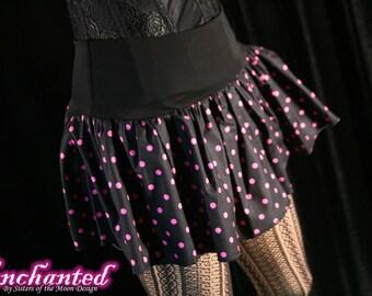 Polk a dot micro mini skirt Adult tutu topper circle skirt black hot pink roller derby  -- You chose size -- SistersEnchanted
