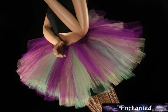 Mardi Gras tutu three layer tutu skirt mini purple mint gold Adult roller derby party costume --You Choose Size -- Enchanted