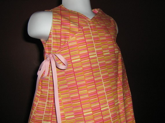 Reversible dress, wrap dress, The ella Collection, size 2t or 3t, pink starburst and stripes by Rugrat Design ready to ship