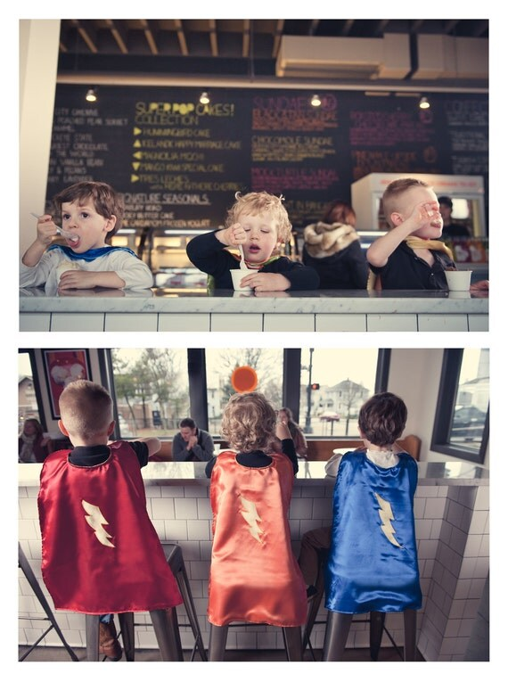 Super Hero Cape, reversible, red with lightening bolt and yellow reverse by Rugrat Design