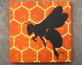 Bee - 8 x 8 Original Acrylic on Canvas