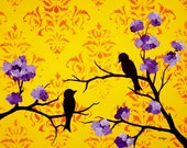SALE Love Birds Print, purple flowers, yellow orange damask, 10 x 8 inches