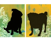 SALE Pug Prints, Damask, Yellow Green Turquoise, Silhouette, TWO 9 x 12 inch prints