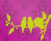 SALE Love Birds Art Print, Modern Wall Decor, Fuchsia Lime Green, 12 x 9 inches