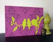 Love Birds Painting, Nursery Art, Pink and Lime Green, 16 x 12 inch, Original Acrylic