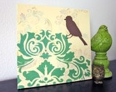 Bird Painting, Damask, Shabby French Cottage Chic, 12 x 12 inch, Green Cream, Original Acrylic Painting,