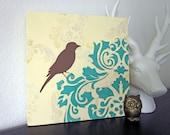 Shabby Bird Painting, Damask, French Cottage Chic, 12 x 12 inch, Turquoise Cream, Original Painting