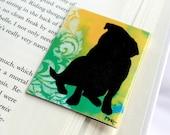 Magnetic Bookmark, Pug Dog Art Silhouette, Damask, Yellow Green