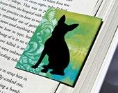 Boston Terrier Magnetic Bookmark, Dog Love Gift, Green Blue Damask