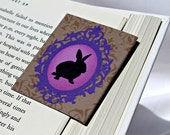 Rabbit Magnetic Bookmark, Shabby Purple and Brown, Gift for Book Lover