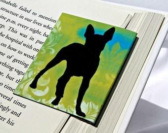 Boston Terrier Magnetic Bookmark, Dog, Green Blue Damask