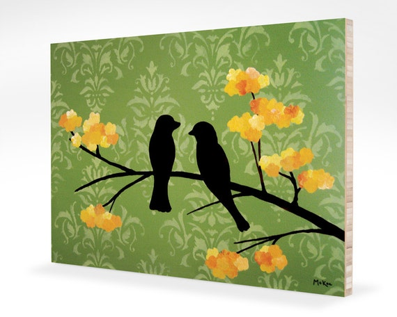 SALE Love Birds Art Block, green damask, yellow flowers, Print Mounted on bamboo, 7 x 5 inches