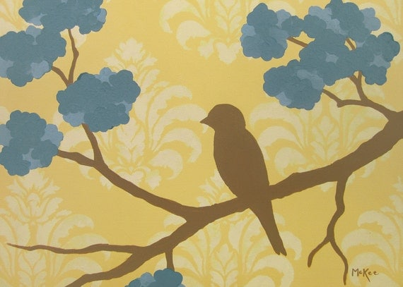 SALE Bird Art Print, Cottage Shabby, Mustard Yellow Damask, Blue Flowers 7 x 5 inches