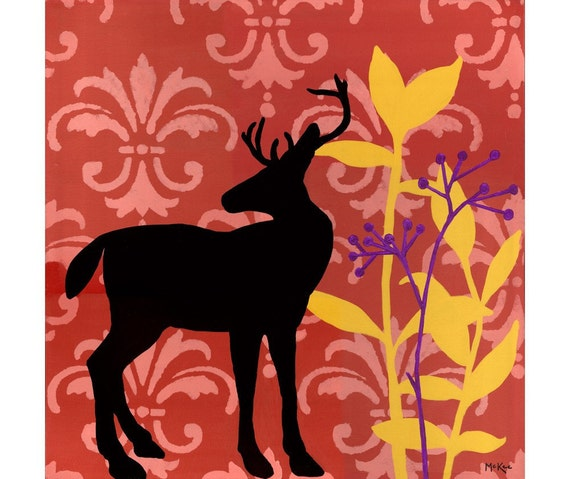 SALE Deer Art Print, holiday decor, red yellow purple - 5 x 5 inch print