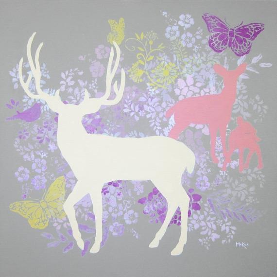 SALE Woodland Deer Print, Flowers Grey Pink Purple Cream Yellow, 10 x 10 inches