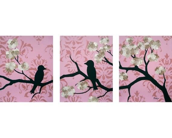 SALE Shabby Love birds print set, Nursery art, pink damask, brown flowers, three 8 x 10 inch prints