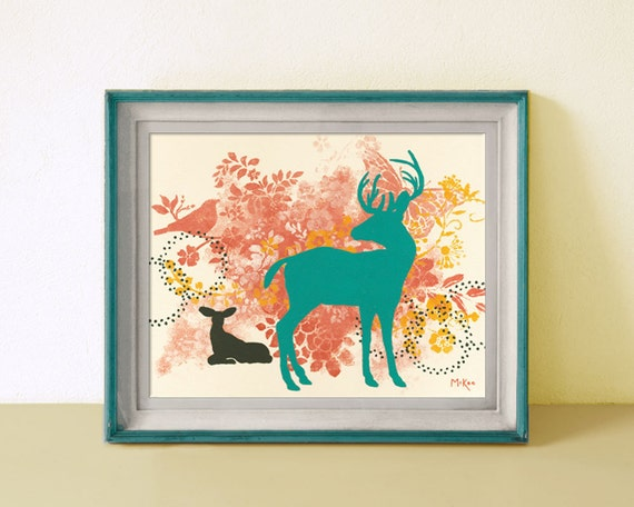 Deer Art Print, Wall Decor, Turquoise and Coral, Modern Shabby, 11 x 14 inches