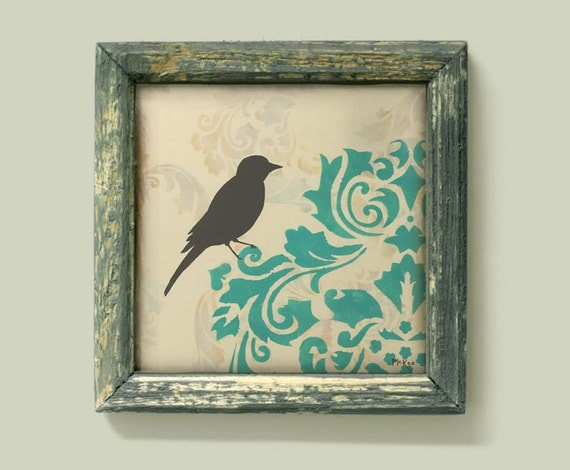 Bird Art Print, French Country, Cottage Chic Shabby, Damask Wall Decor, 12 x 12 inch print