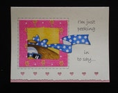 Handcrafted Get Well Card (GW49), UNIQUE, designed with Fabric....Take a look at my large selection